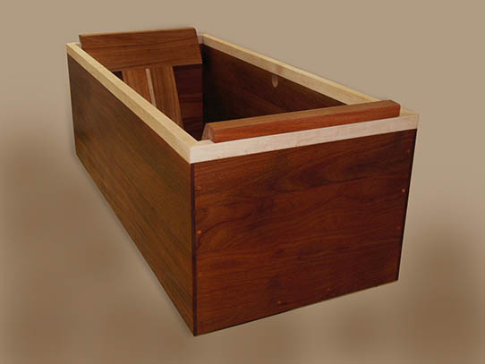 japanese ofuro tub made of african mahogany and birds eye maple