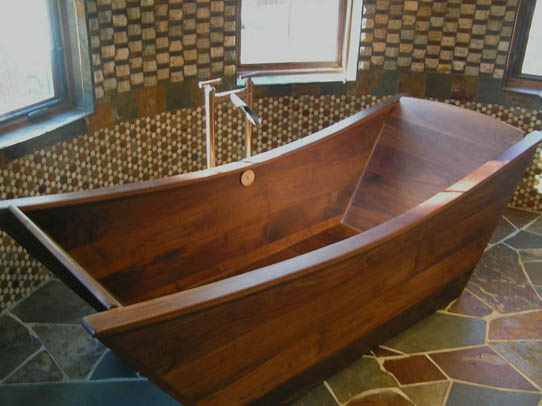 custom wooden bath tub made of walnut