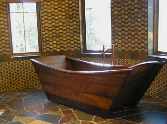 Awesome Wooden Bathtub   Double Wood Tub