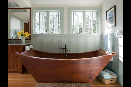 wooden bathtub - double wood tub made of mahogany
