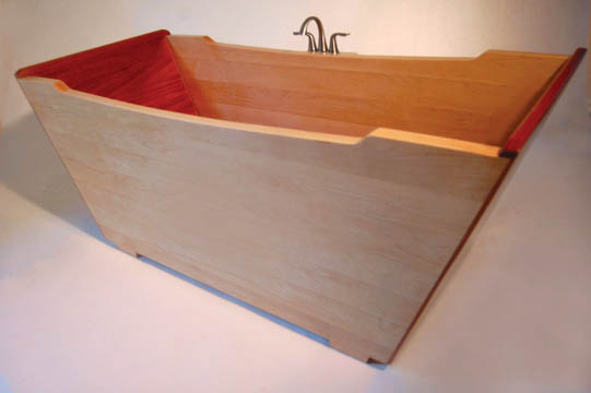 ofuro for two: this wooden tub combines japanese architecture and european styling