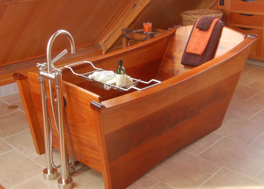 wooden bathtub - single wood tub