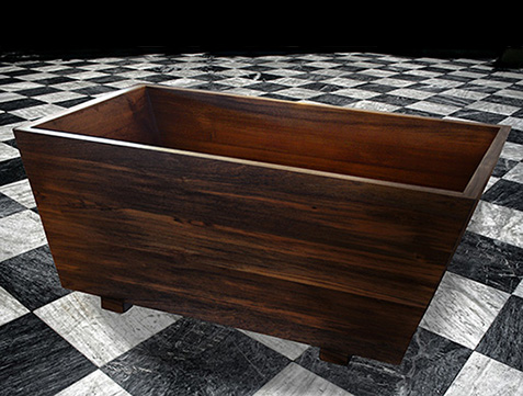 double wooden bathtub