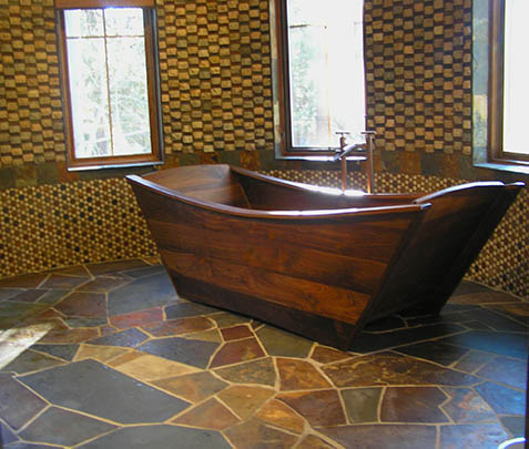 walnut double bathtub